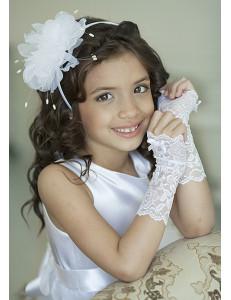 Митенки белые кружевные на девочку Неженка (3-7 лет)