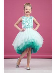 """Платье нарядное изумрудное с асимметричной многоярусной юбкой """"Gradient"""""""