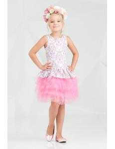 """Платье нарядное с многослойной юбкой розового цвета """"Брайт лайт"""""""